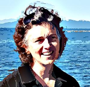 Christina Blais Fiber Artist infront of an ocean