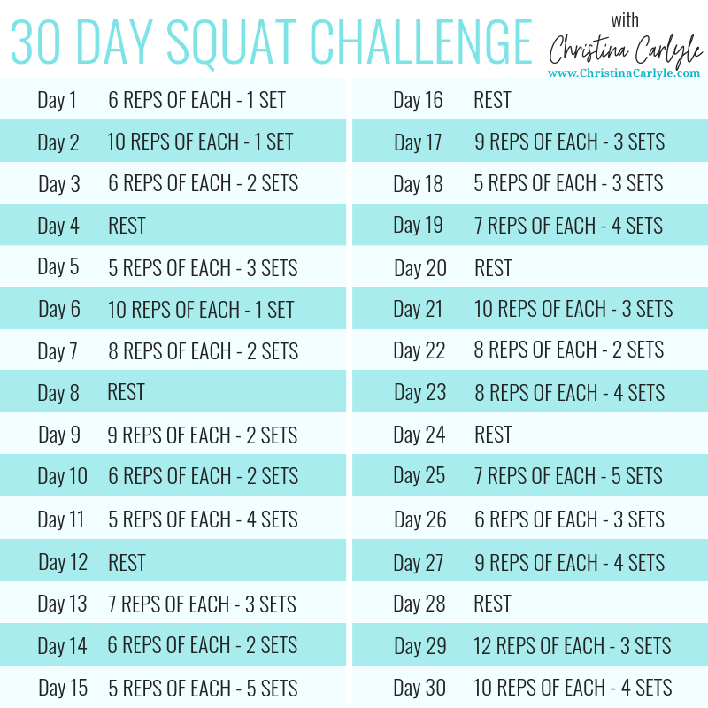 30 Day Squat Challenge Schedule by Christina Carlyle