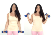 Side Hammer Curl Bicep Exercise done by Christina Carlyle