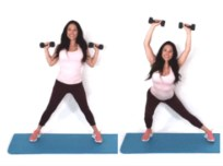 Side Lunge + Overhead Press HIIT Exercise done by Trainer Christina Carlyle