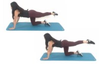 Cross over pulses Butt Exercise being done by Christina Carlyle