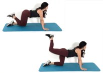Donkey Kick Exercise being done by Christina Carlyle