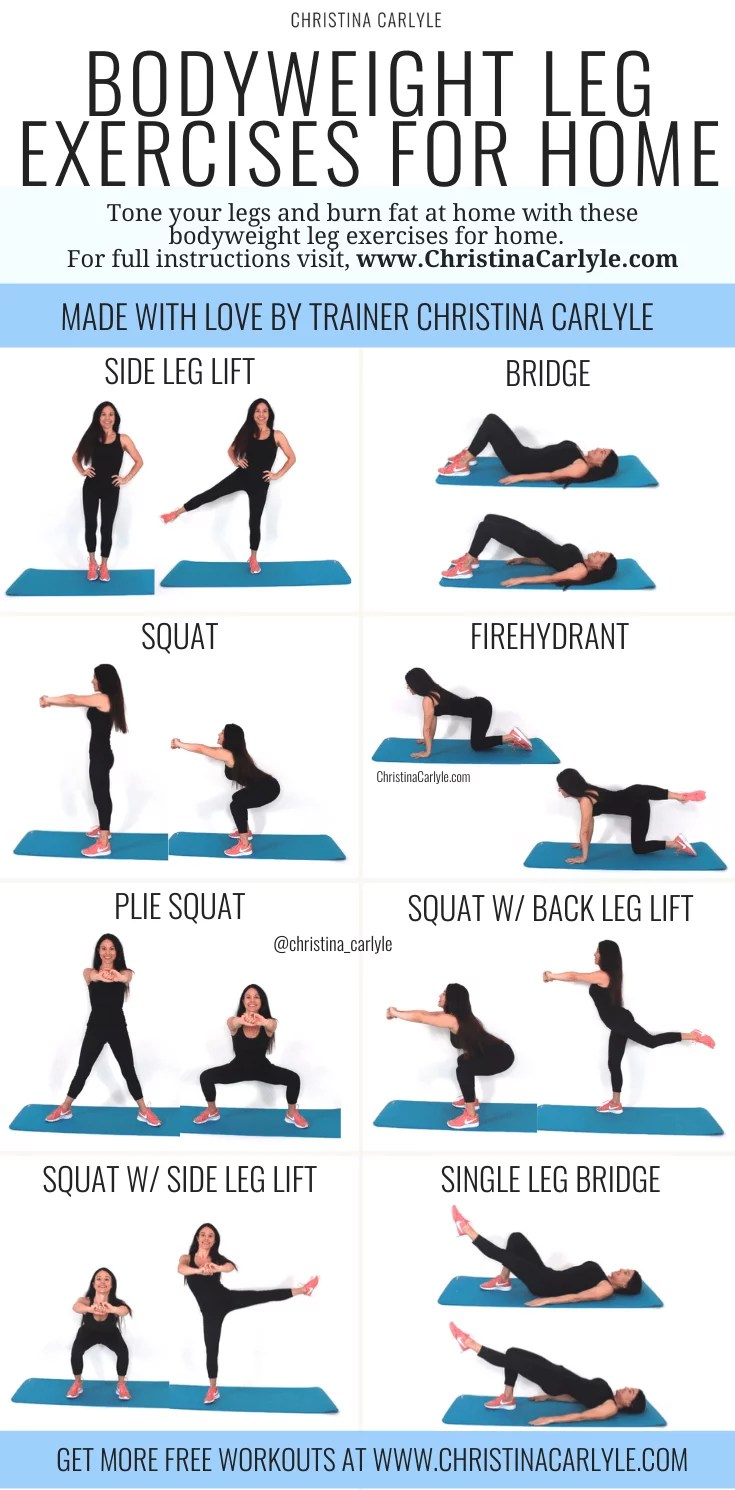 Leg Exercises at Home Bodyweight Workout for Women ...