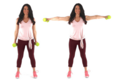Side Extension Arm Exercise with Weights being done by trainer Christina Carlyle