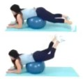 Hamstring Ball Leg Lift Home Leg Exercise being done by trainer Christina Carlyle
