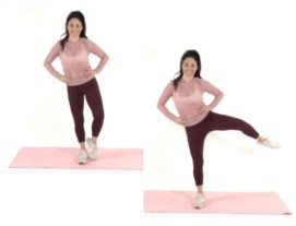 Ballet Leg Lift thigh exercise being done by trainer Christina Carlyle