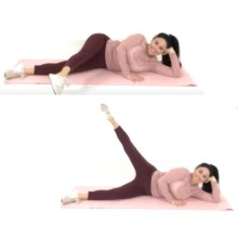 Outer thigh extension exercise being done by trainer Christina Carlyle