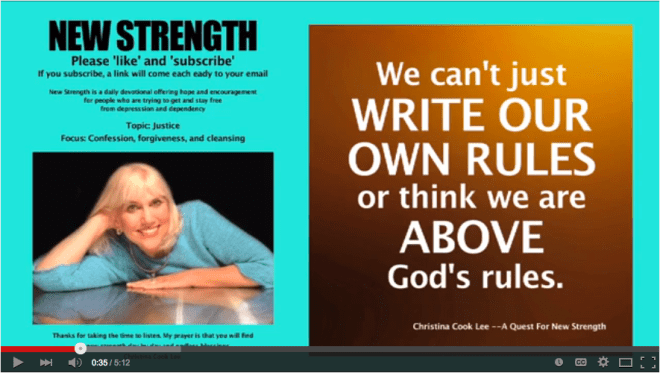 We can't just write our own rules or think we are above God's rules. --Christina Cook Lee, A Quest For New Strength