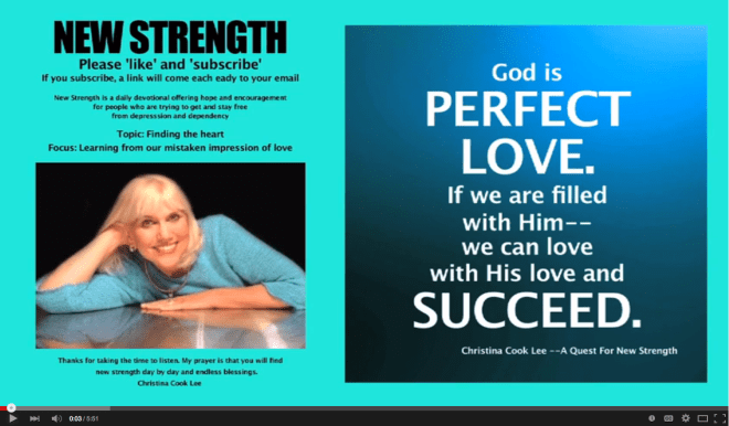 God is perfect love. If we are filled with Him--we can love with His love and succeed. --Christina Cook Lee, A Quest For New Strength