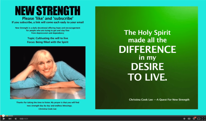 The Holy Spirit made all the difference in my desire to live. --Christina Cook Lee, A Quest For New Strength