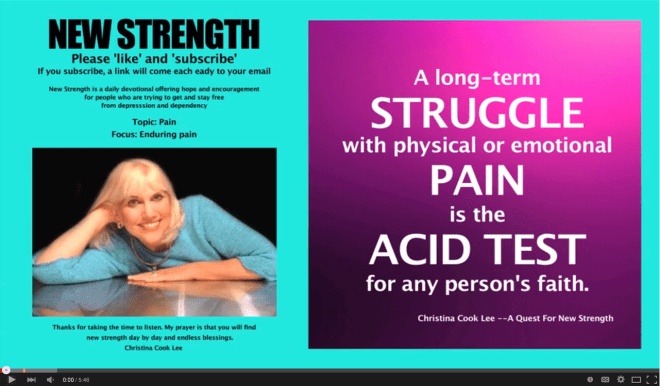 A long-term struggle with physical or emotional pain is the acid test for any person's faith. --Christina Cook Lee, A Quest For New Strength