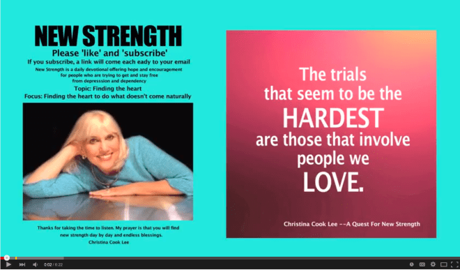 The trials that seem to be the arrest are those that involve people we love. --Christina Cook Lee, A Quest For New Strength