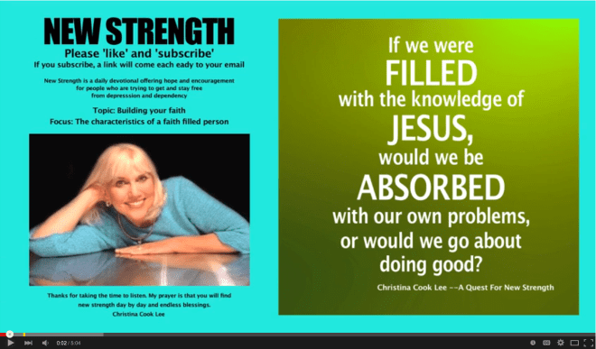 If we were filled with the knowledge of Jesus, would we be absorbed with our own problems, or would we go about doing good? --Christina Cook Lee, A Quest For New Strength