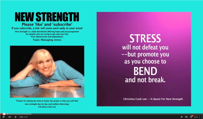 Stress will not defeat you—but promote you, as you choose to bend and not break. --Christina Cook Lee, A Quest For New Strength