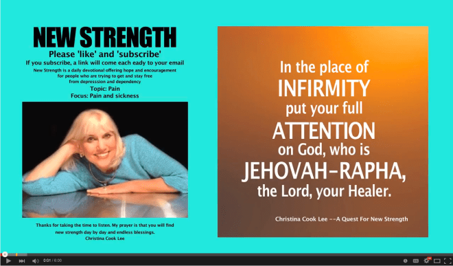 In the place of infirmity, put your full attention on God, who is Jehovah-Rapha, the Lord, your Healer. --Christina Cook Lee, A Quest For New Strength