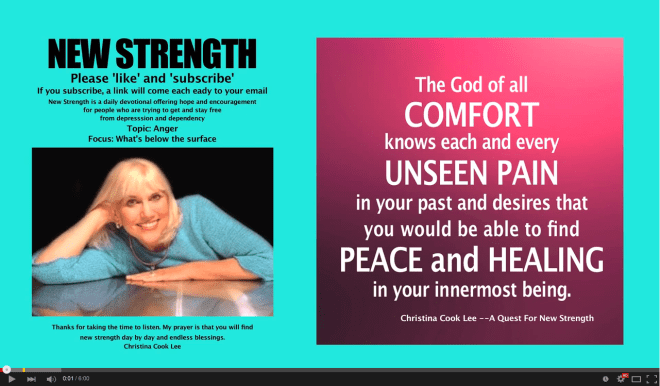 The God of all comfort knows each and every unseen pain in your past and desires that you would be able to find peace and healing in your innermost being. --Christina Cook Lee, A Quest For New Strength