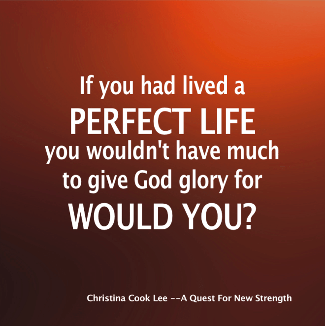 If you had lived a perfect life, you wouldn't have much to give God glory for, would you? --Christina Cook Lee, A Quest For New Strength