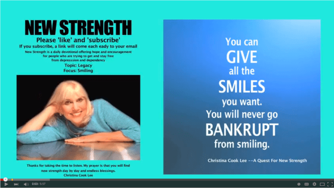 You can give all the smiles you want. You will never go bankrupt from smiling. --Christina Cook Lee, A Quest For New Strength