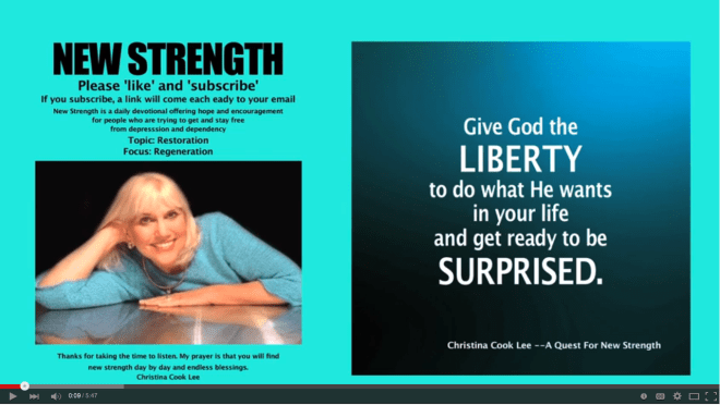 Give God the liberty to do what He wants in your life and get ready to be surprised. --Christina Cook Lee, A Quest For New Strength