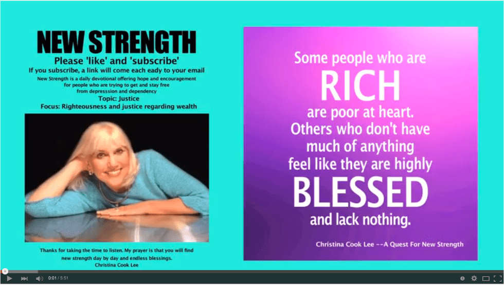 Some people who are rich are poor at heart. Others who don't have much of anything feel like they are highly blessed and lack nothing. --Christina Cook Lee, A Quest For New Strength