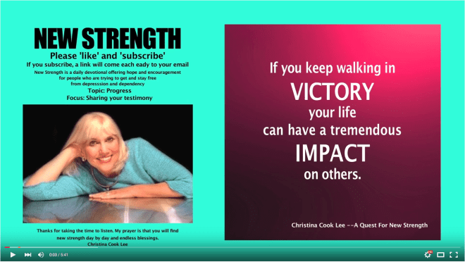 If you keep walking in victory, your life can have a tremendous impact on others. --Christina Cook Lee, A Quest For New Strength