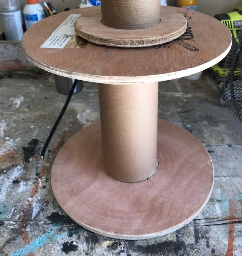 Repurposed Wood Wire Spool Before