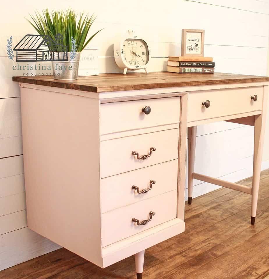 Pink repurposed sewing machine table