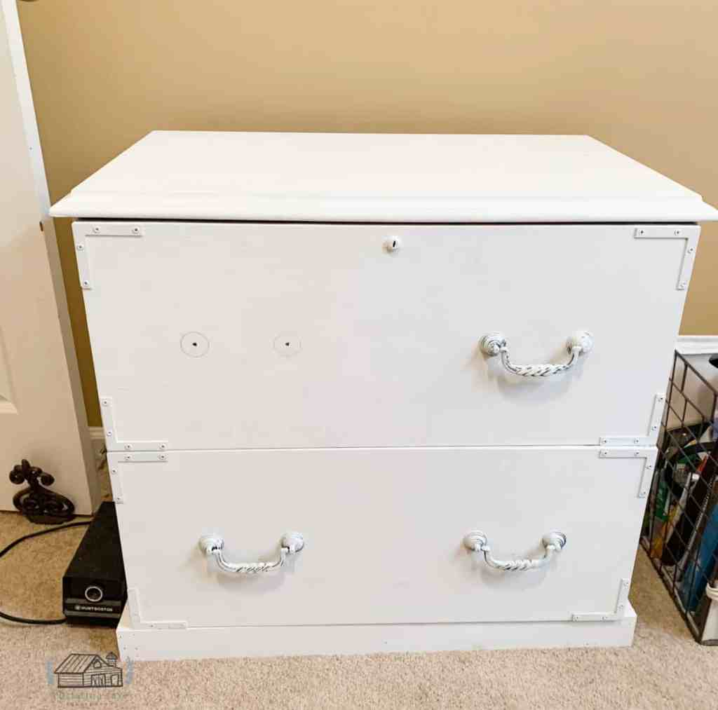 Wood Lateral File Cabinet Painted White Missing Hardware