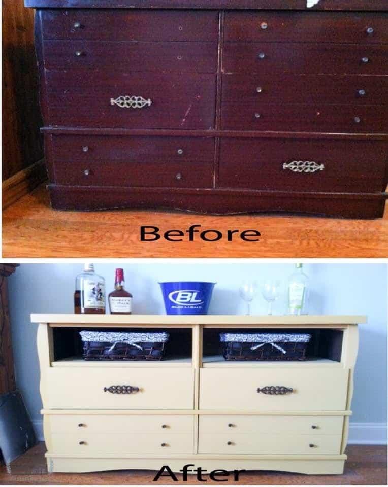 Dresser Repurposed Into Bar Yellow in Color