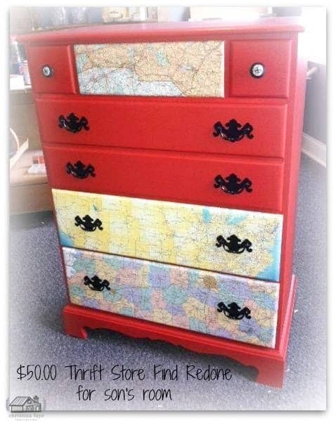 Chest of Drawers decoupaged with maps