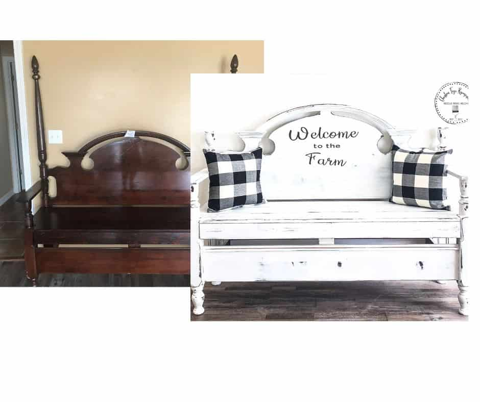 Headboard bench before and after painted white.