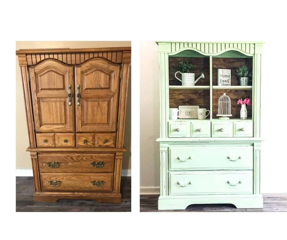 Armoire cabinet before and armoire cabinet painted green.