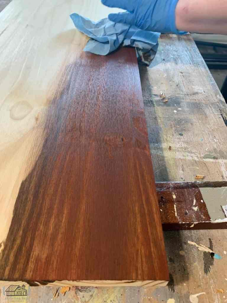 Adding Stain to Spruce Panel