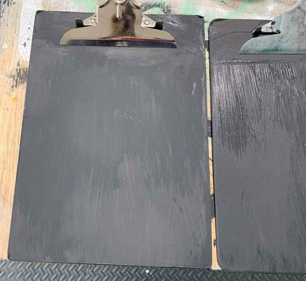Clipboard with black paint