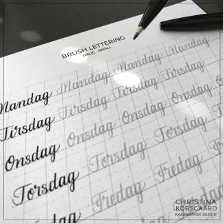 Brush lettering - træningsark - årets gang, årstider, højtider og mærkedage