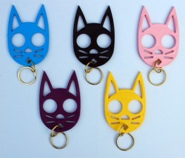 """My sister has this """"cat"""" keychain. You stick your fingers into the eyes holes. Great when running or alone at night."""