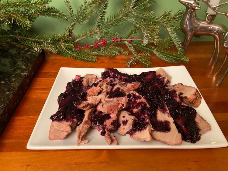 ham roast with blueberry sauce