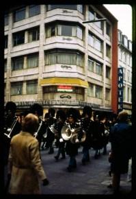 Royal guard marching through Copenhagen circa 1971