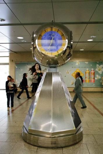 The silver clock at Nagoya station.