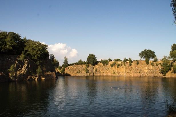 Bathing in Dalby quarry.