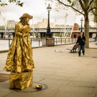 Living statue on the South Bank in London