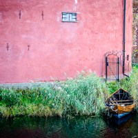 Rowboat in the moat by Malmöhus castle
