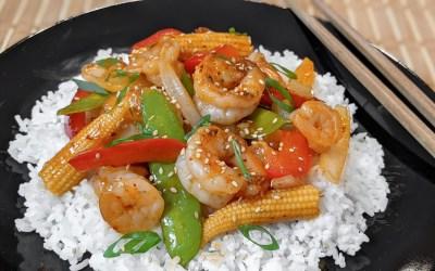 Sauté de crevettes asiatique épicé