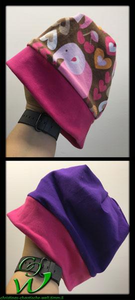 Mädchenbeanie rosa/lila