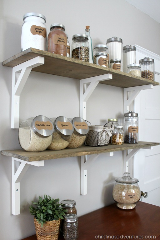 wood shelves kitchen magnetic knife holder open shelving pantry christinas adventures glass containers make this beautiful a dresser
