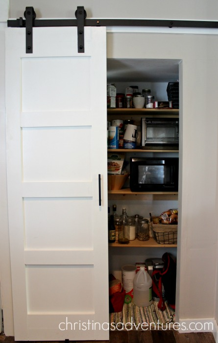 kitchen pantry doors home depot triple sink diy sliding barn door - christinas adventures
