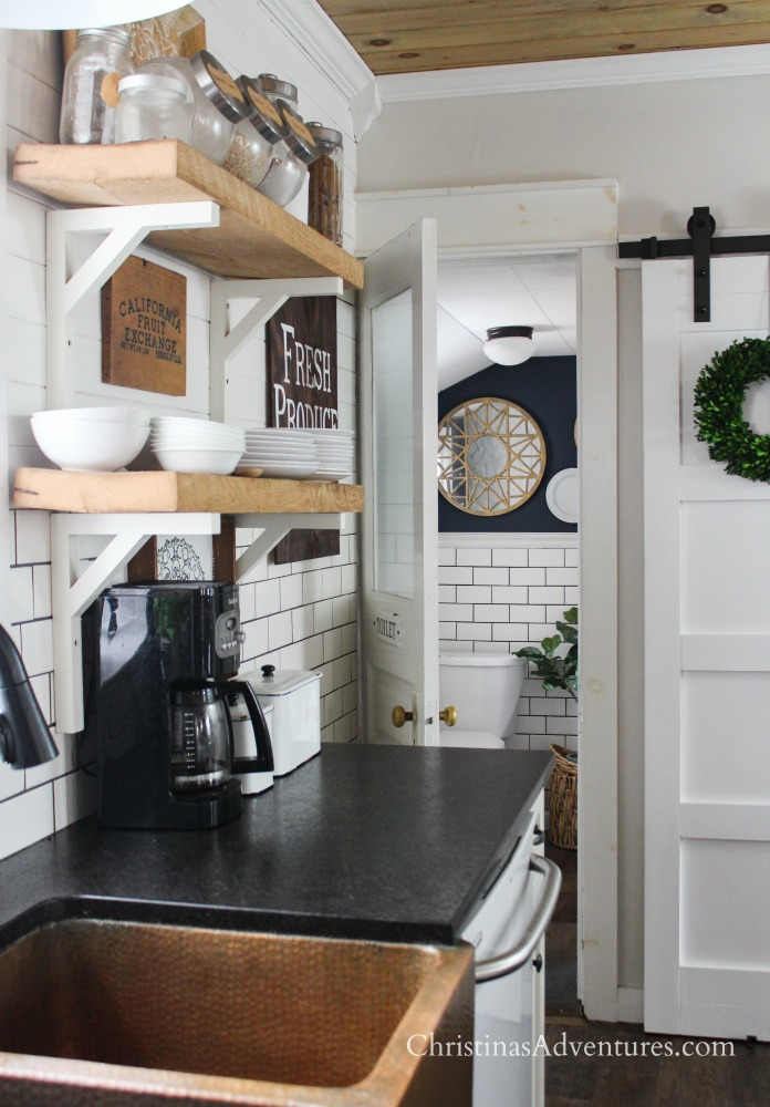 decor for kitchen cabinet storage farmhouse in the spring and summer christinas fixer upper barn door copper sink