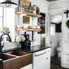 Decor For Kitchen Vans Farmhouse In The Spring And Summer Christinas Wood Ceiling Copper Sink Barn Door Open Shelving