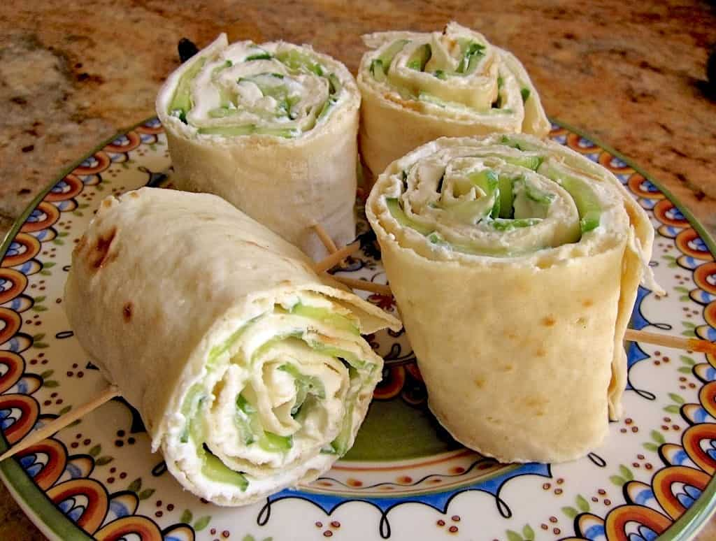 cucumber and cream cheese lavash roll sandwiches
