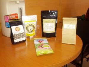 Five varieties of tea purchased from the Toronto Tea Festival.